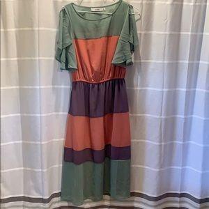 Really cute sage, mauve, violet dress
